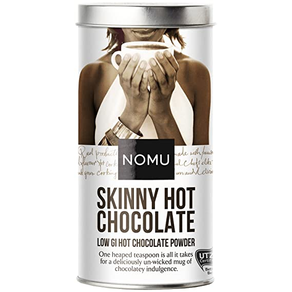 Nomu Skinny Hot Chocolate Powder 33 Cups Low Sugar Diet Drink 20 Calories Only Low Gi High Protein
