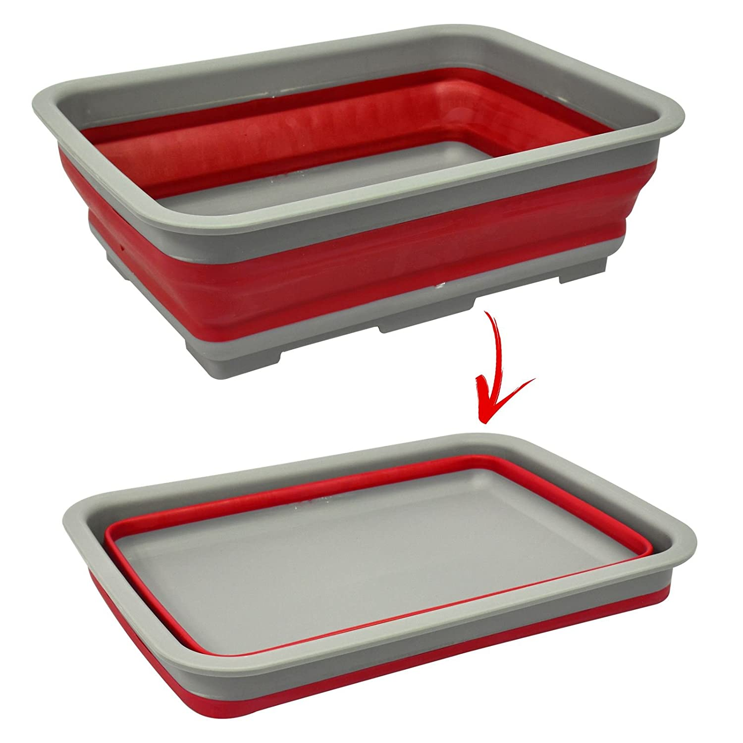 Foldable Collapsible Washing Up Bowl Dish Kitchen Camping Caravan Boat Travel Water Container Easy Pop Out Silicone Plastic Design ASAB