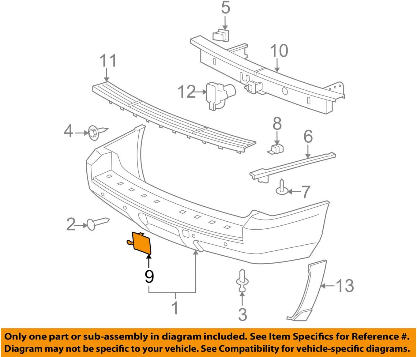 NEW GM OEM Rear Bumper-Access Cover 15811584