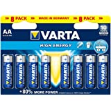 Varta -  piles alcalines High Energy AA LR06 x 8