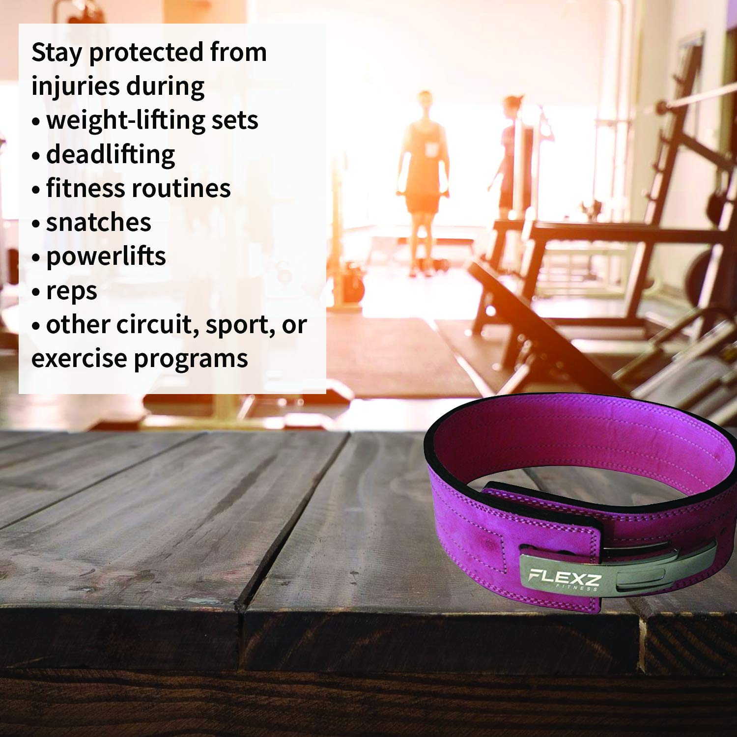 Flexz Fitness Lever Buckle Powerlifting Belt 10mm Weight Lifting Pink Small by Flexz Fitness (Image #5)