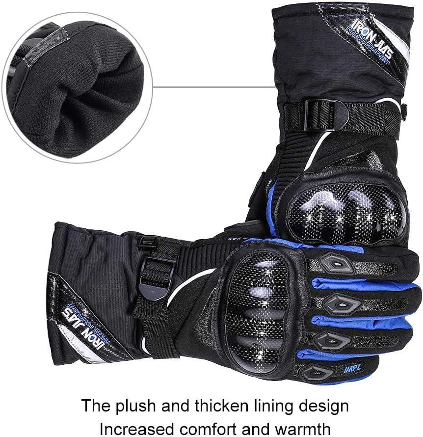 New Egg Motorradhandschuhe 100/% Wasserdicht Winter Warm Motorrad Handschuhe Motorradhandschuhe Knuckle mit Touchscreen Funktion f/ür Herren Damen