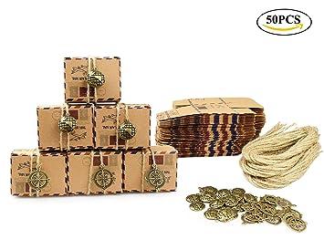Tomkity 50 Cajas para Bombones Caja Kraft de Boda Regalo Rústico Candy Caja Papel Boda Regalos Cajas de Caramelo Envoltorio: Amazon.es: Hogar