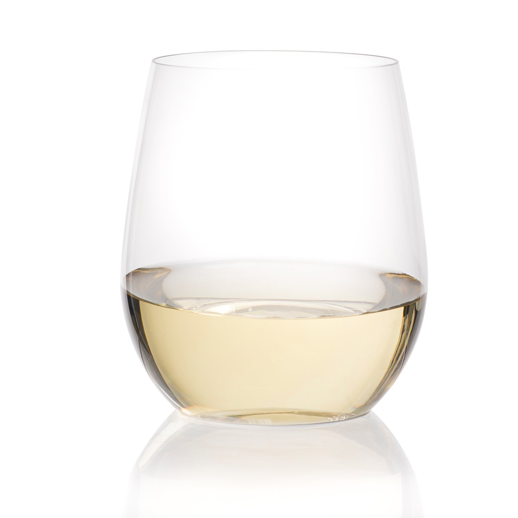24 Plastic Wine Glasses | Stemless Wine Cups - 20 ounce Clear Plastic Unbreakable Wine Glasses Disposable Reusable Shatterproof