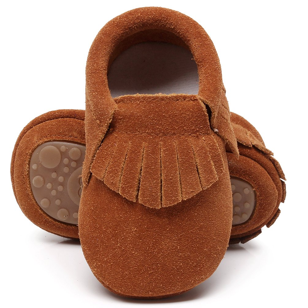 HONGTEYA Leather Baby Moccasins Hard Soled Tassel Crib Toddler Shoes for Boys and Girls (12-18 Months/5.12inch, Suede Dark Brown)
