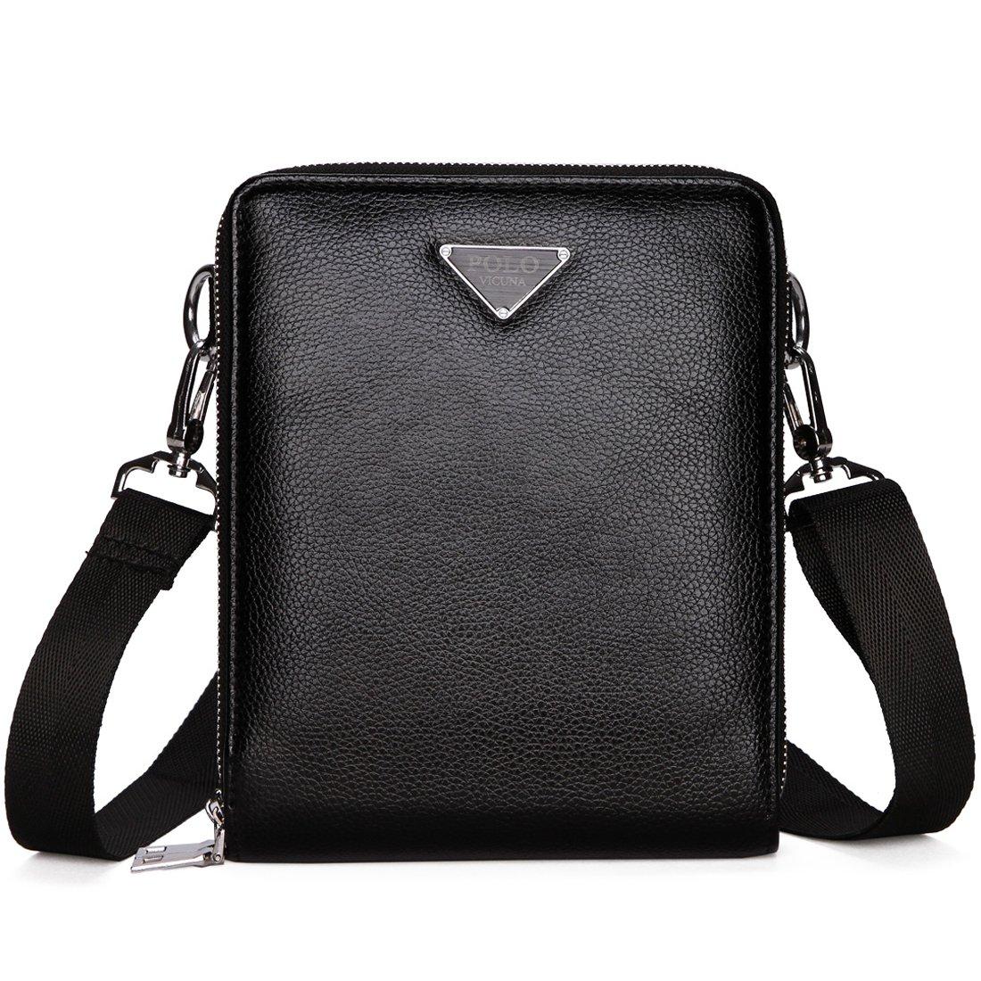 VICUNA POLO Shoulder Bag for Men Messenger Bag Large Capacity Crossbody Bag for Male (black)