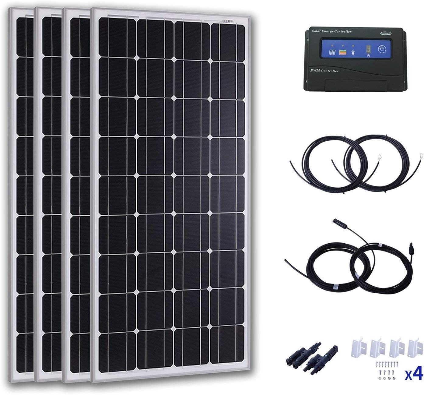 Komaes 400 Watts 24 Volts Monocrystalline Solar Starter Kit with 20A PWM Charge Controller 20ft Tray Cable 20ft MC4 Connectors Mounting Z Brackets