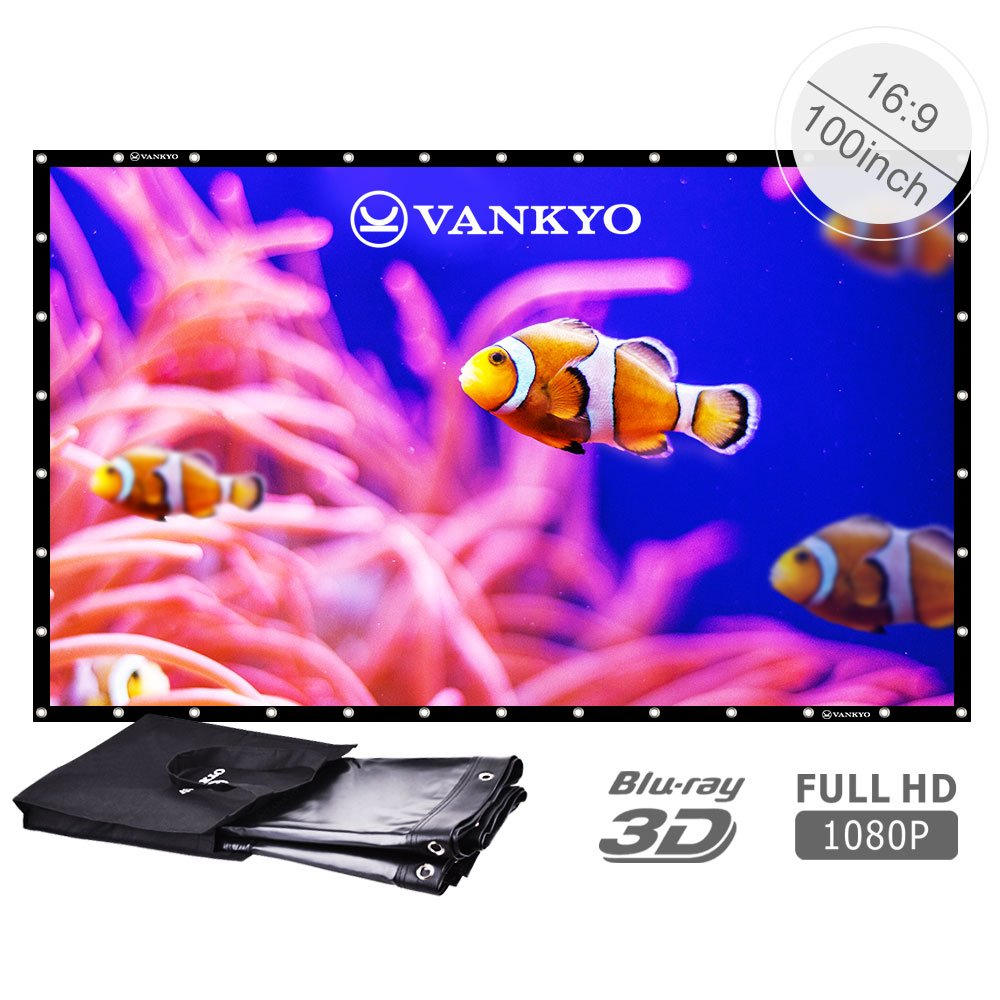 VANKYO 100 inch 16:9 High Contrast Collapsible PVC HD 4K Portable Front Projection Projector Screen with Hanging Hole Grommets for Home Indoor and Outdoor Movie Match Party