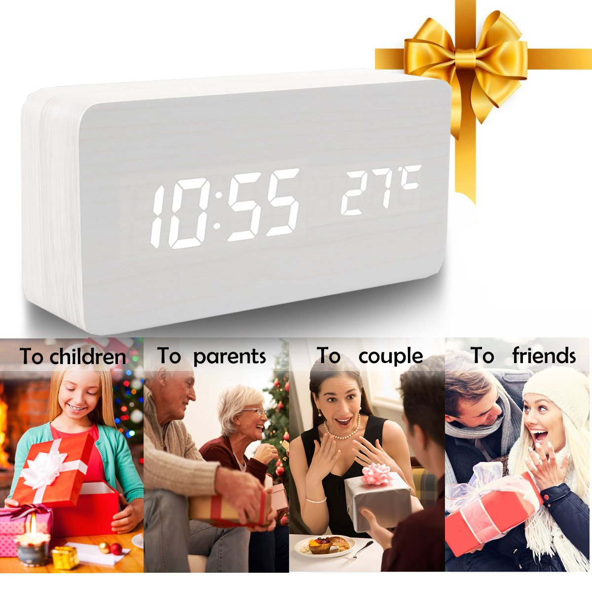 Girlsight White Wood Alarm Clock,Digital Alarm Clock, Wooden Wake Up Bedside Travel Alarm Clock with Time Temperature Humidity Sound Control Led Alarm Clock for Home Bedroom Office-triangle