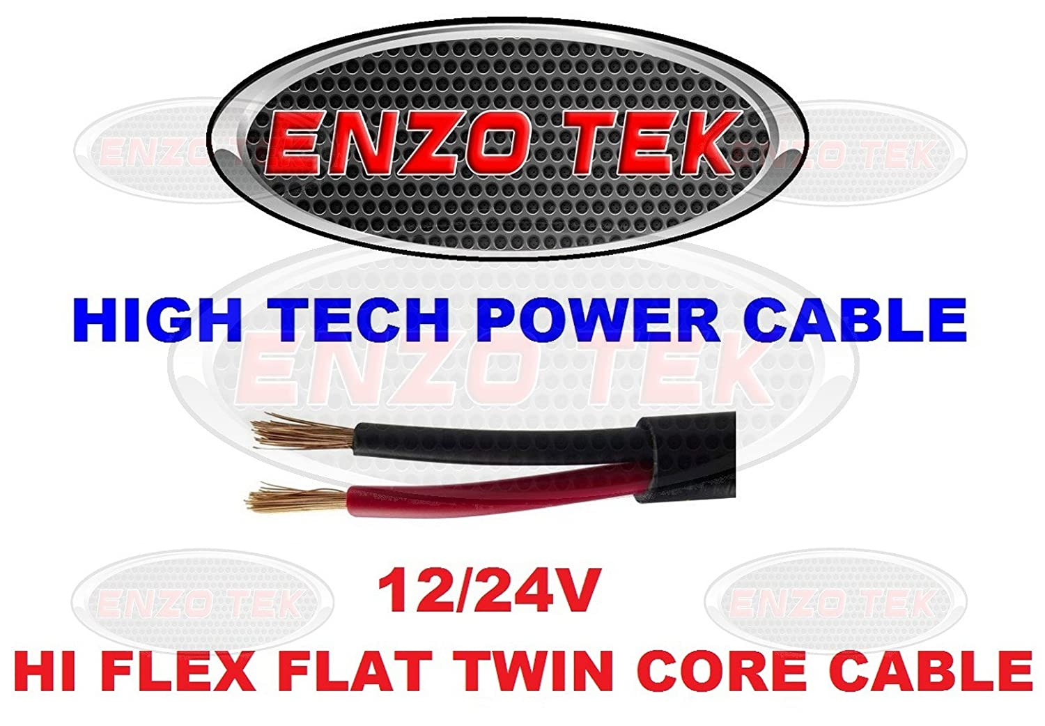 2 x 0.5mm Flat Twin 100m Roll Automotive /& Marine 12V//24V 2 Core Cable