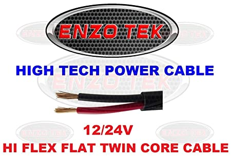 FLAT TWIN AUTO CABLE 2 CORE 1.0mm 16 AMP CAR WIRE 20m AUTOMOTIVE THINWALL 1mm