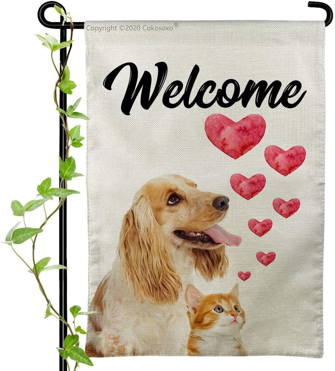 Welcome Animals Garden Flag-Golden Retriever and Cute Brown Cat with Red Love Hearts- Burlap Vertical Double Sided Outdoor Decor Sign for Yard Lawn Patio 12x18 inch