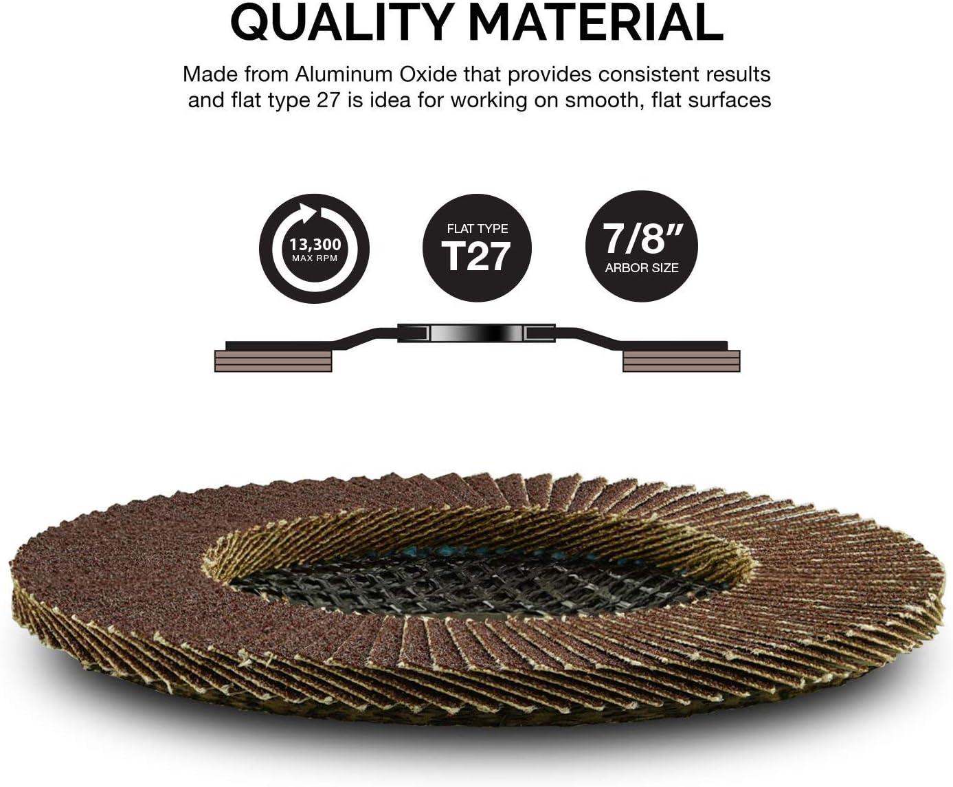 Neiko 11107A Aluminum Oxide Flap Disc Fiberglass Backing Plate Flat Type #27 4.5 x 7//8 Inch 10 Pack 60 Grit