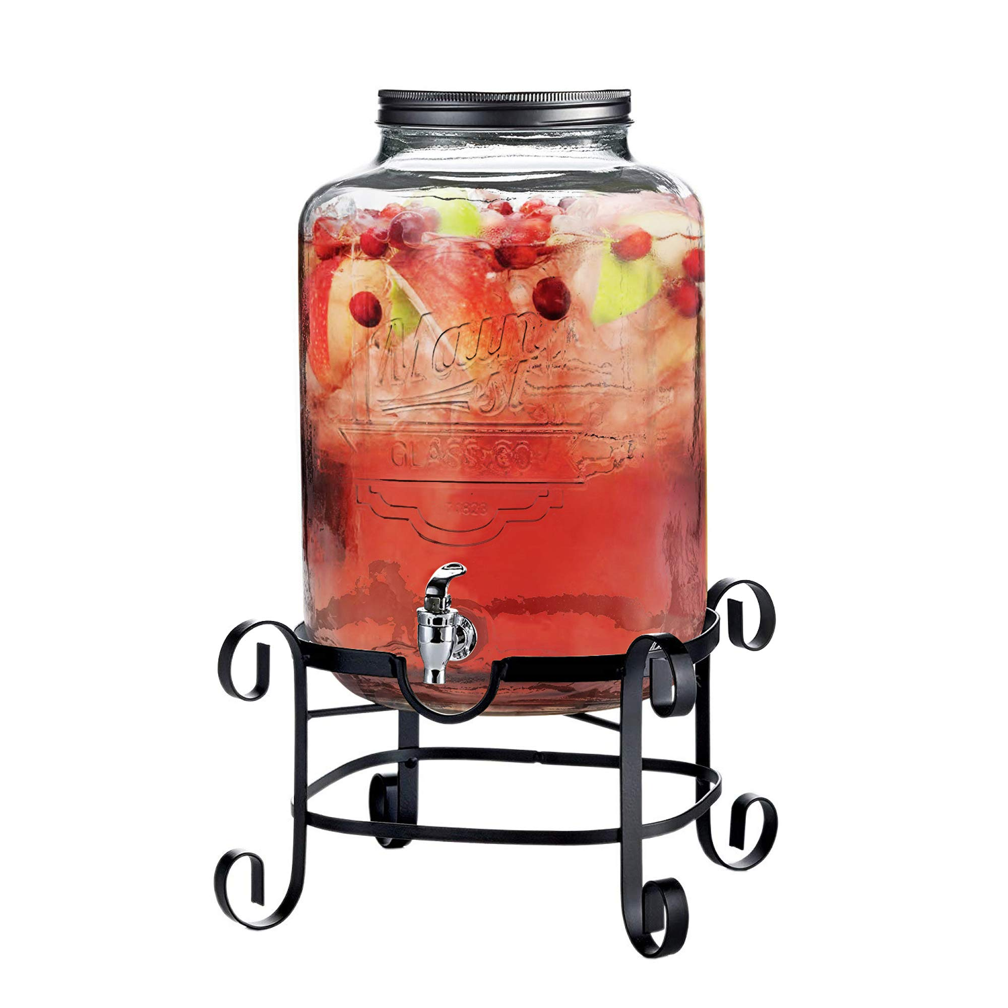 Style Setter Main Street 210263-GB Beverage Dispenser with Stand Cold Drink with 3 Gallon Capacity Glass Jug and Leak-Proof Acrylic Spigot in Gift Box For Parties, Weddings, 11x18'', Clear