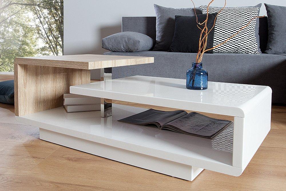 Stylischer Design Couchtisch CONCEPT 100cm Hochglanz Weiß Sonoma Eiche:  Amazon.de: Küche U0026 Haushalt