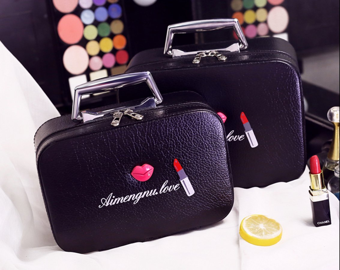 Mini Makeup Train Case Bag, Cosmetic, Toiletry & Makeup Bag Organizer,Best for Wedding/Christmas/Mother Cute Beauty Empty Makeup Brush Mirror Storage Box (Large+Small)