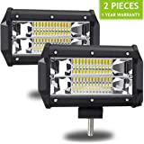 AMBOTHER 2Pcs 5'' 24 LED Light Bar Off Road Driving Work Spot Beam Fog Lights Waterproof Super Bright 144W light bar for Jeep Truck Motorcycle Van Wagon ATV SUV Pickup