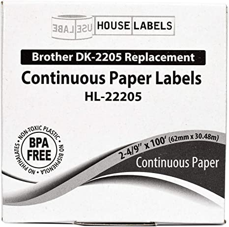 Reusable Cartridge HouseLabels Compatible with Brother DK-2205 Continuous Paper Labels with ONE 2-4//9 x 100; 62mm30.48m Ships Fast 4 Rolls; Continuous Paper 1 - BPA Free!