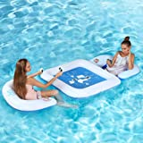 KABOER Water Sport Floating Game Deck and Chairs with Waterproof Playing Cards, Inflatable Outdoor Swimming Pool Float Raft