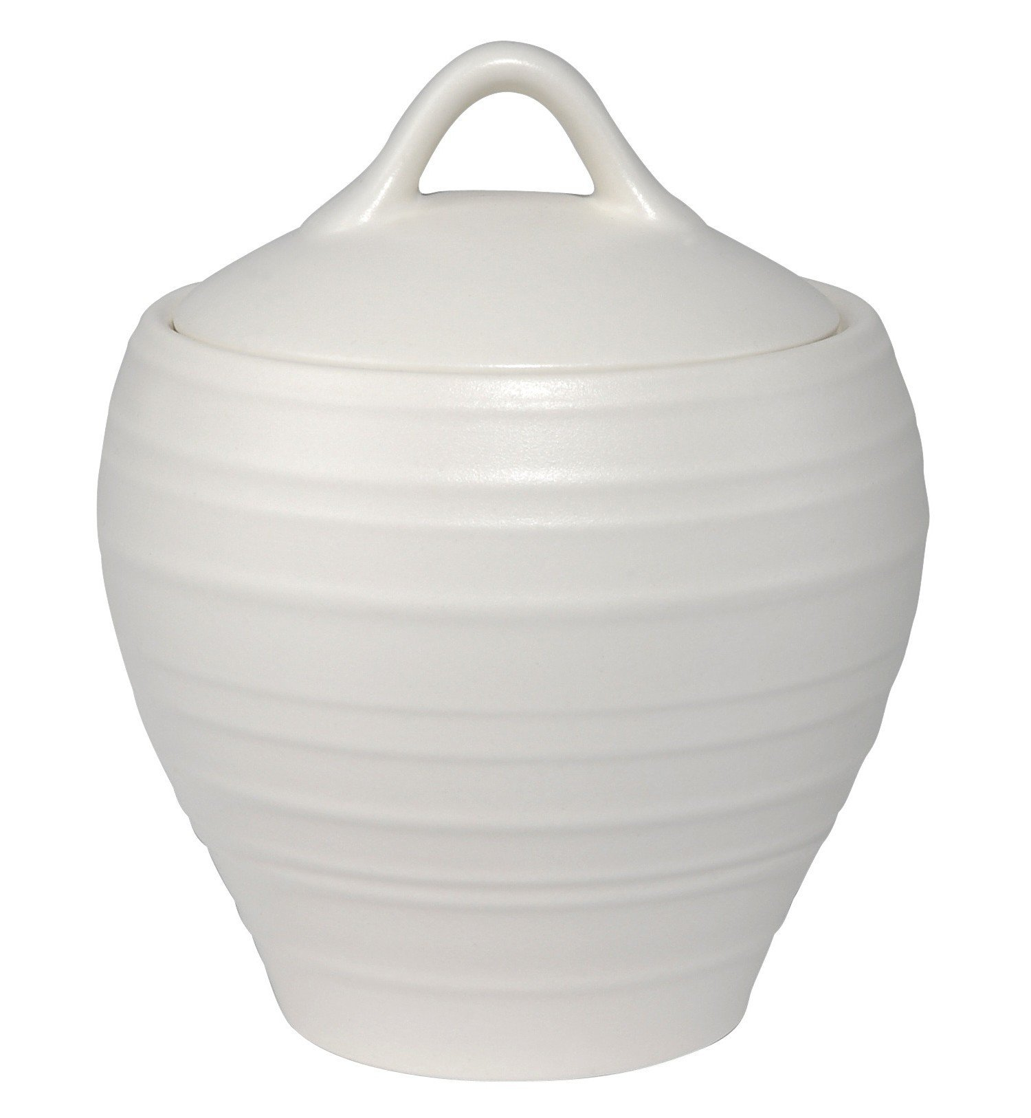 Mikasa Swirl White Covered Sugar Bowl, White