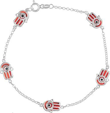 Hamsa Hand Of God Blue Evil Eye Protection Dangle Hamsa Charm Bead For Women Teen Sterling Silver Fits European Bracelet