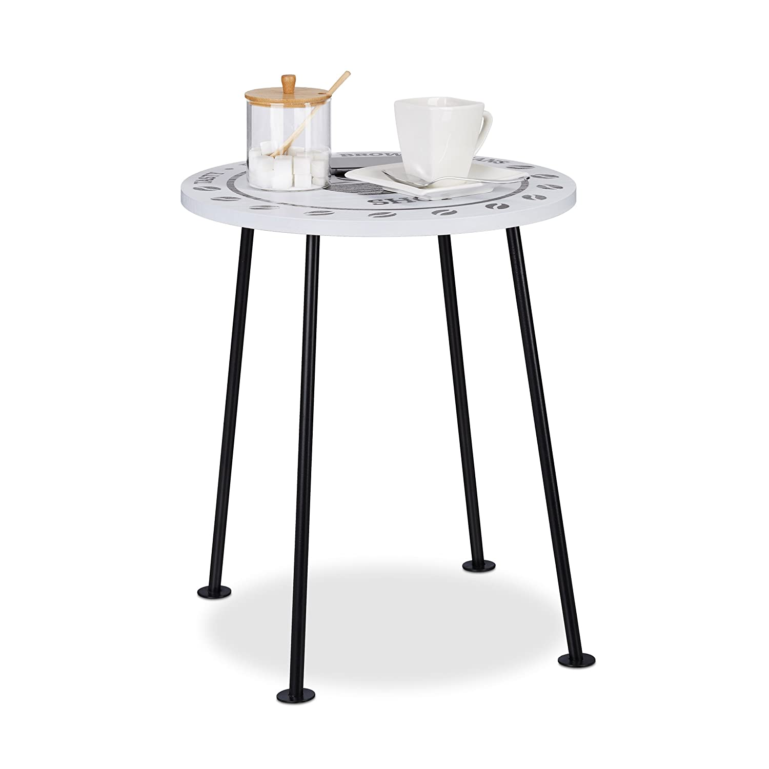 Relaxdays Small Coffee Table, Round Side Table in Coffee Shop Design, MDF & Metal, HWD: 46.5x40x40cm, Black/White 10021861