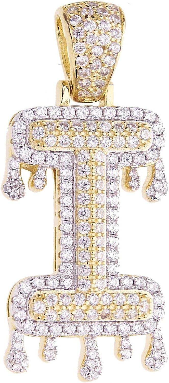 I 925 Sterling Silver DRIP Letter Pendant I Premium Bling