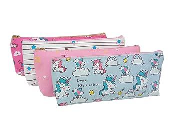EUGU 4Pack Precioso Unicornio Caja de Lápices Monedero Bolsa Cosmética Maquillaje Bolsa para Niños Lindo Unicornio Regalos para Niñas (pencil case ...