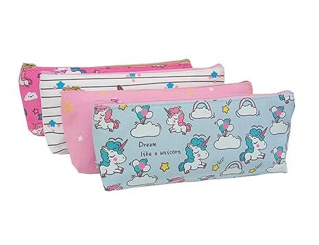 EUGU 4Pack Belle Licorne Crayon Cas Porte Monnaie Pochette Cosmétique Maquillage Sac pour Enfants Mignon Licorne Cadeaux pour les Filles (trousse