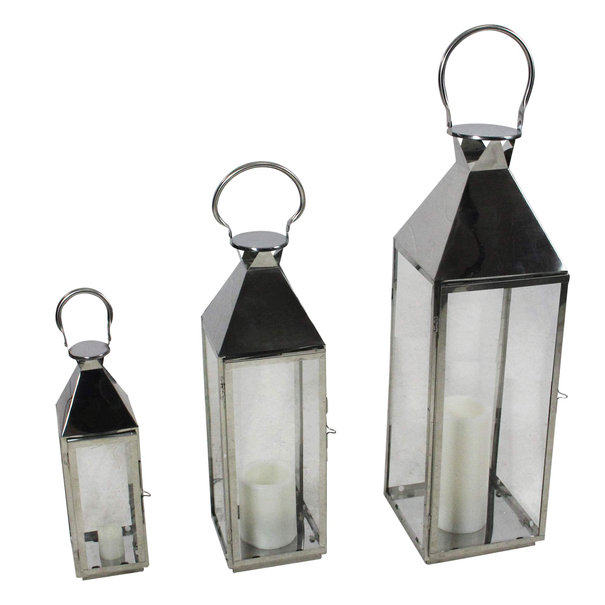 Melrose Set of 3 Stainless Steel and Glass Pillar Candle Holder Lanterns 35''