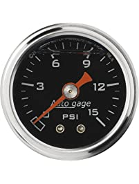 "Auto Meter 2172 Auto Gage 1-1/2"" 0-15 PSI Mechanical Fuel Pressure Gauge"