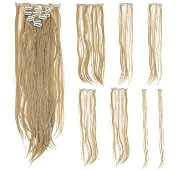 24 Seamless Straight Synthetic Hair Extension Clip In On Party Solid Color