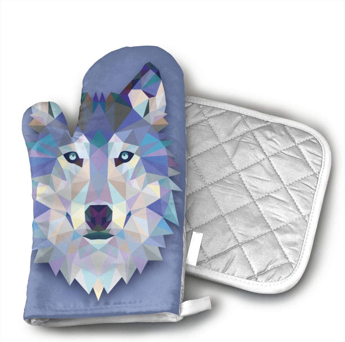 FGXQN Wolf Oven Gloves Non-Slip Kitchen Oven Mitts Heat Resistant Cooking Gloves for Cooking, Baking, Barbecue Potholder,