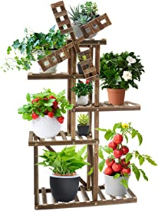 Rilime Wood Plant Stand Windmill Outdoor Indoor, Multi-Tier Garden Plant Shelf Rack Holder Flower Stand for Multiple Plants (5 Tiers Accommodate for 9 Flowerpots)