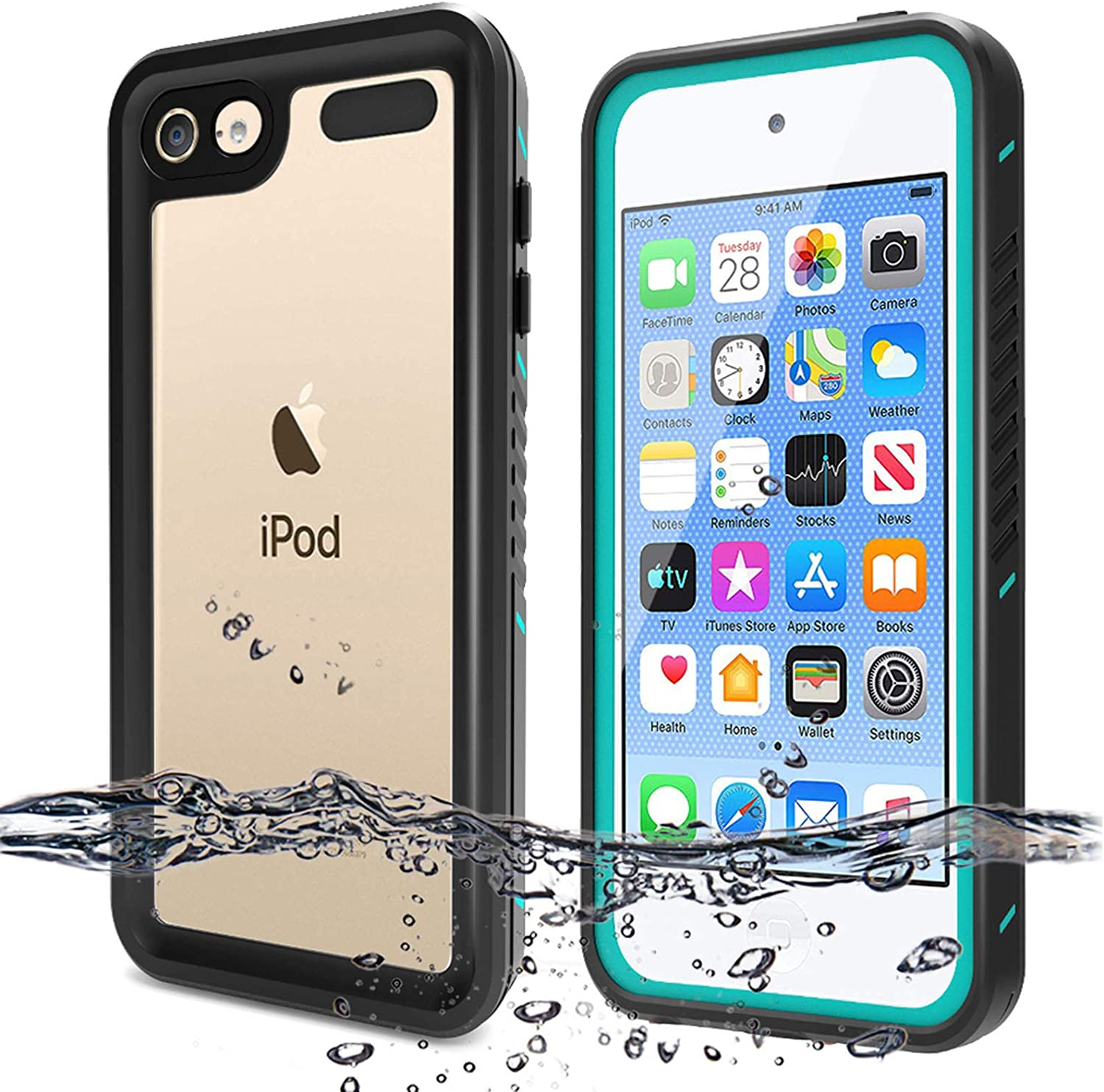 BESINPO Waterproof Case Compatible with iPod Touch 7 Case, iPod Touch 6 Touch 5 Case, Full Body Built-in Screen Protector Shockproof Dustproof Anti-Scratch Case for iPod Touch 7th/6th/5th Generation