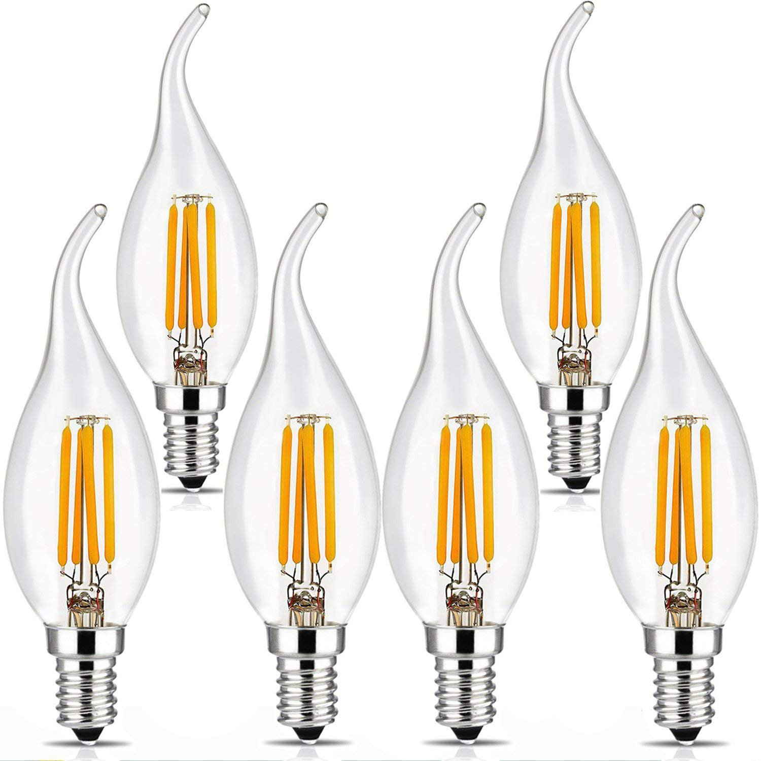 BRIMAX 4W Chandelier Light Bulbs, 40W LED Candelabra Bulb, E12 Candle Bulb for Small Base, Bent Tip, 2700K Warm White, for Chandelier Candle Lamp Decorative, Indoor & Outdoor,UL Listed-6Pack