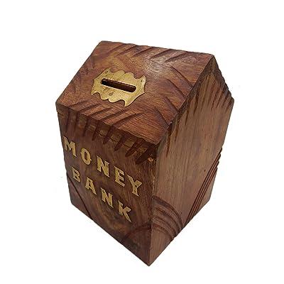 """Banco de madera hecho a mano de 6 """", hucha de forma Hut, Diseño de tiras con llave Banco de almacenamiento de moneda para niños y adultos, Día de Pascua / Día de la madre / Regalo de Viernes Santo: Hogar"""