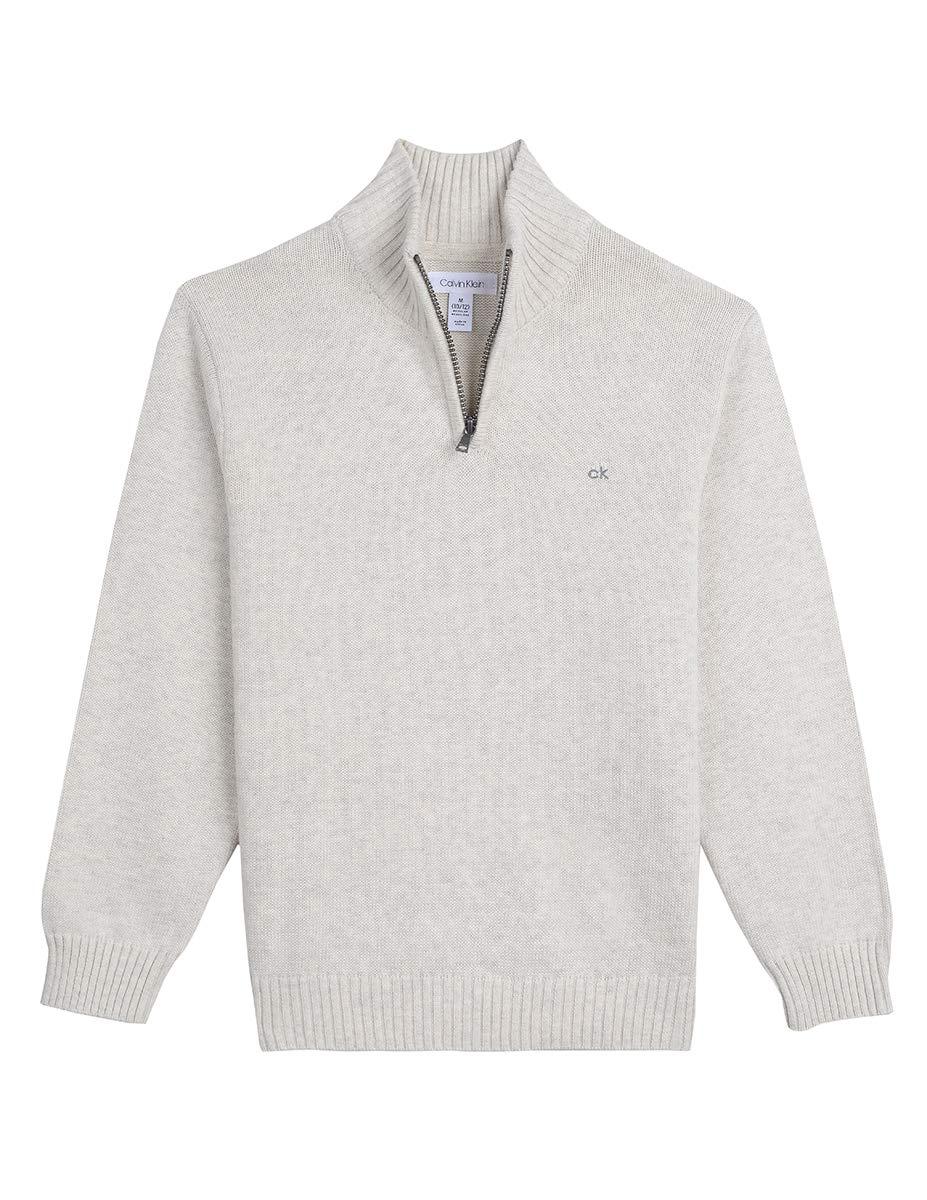 Calvin Klein Boys' Half Zip Sweater, Marled Oatmeal XL18/20