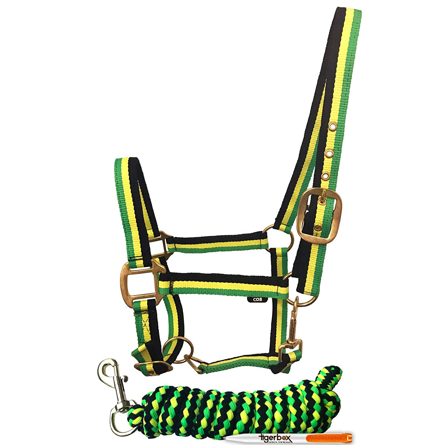 Tigerbox Bright Neon Striped Adjustable Nylon Horse Headcollar Lead Rope Set and Antibacterial Pen