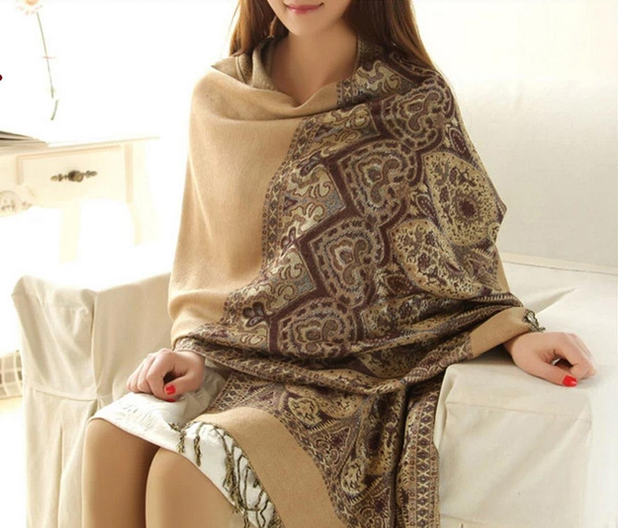 Onlineb2c Women's Woven Reversible Paisley Pashmina Shawl Wrap Camel by Onlineb2c (Image #1)