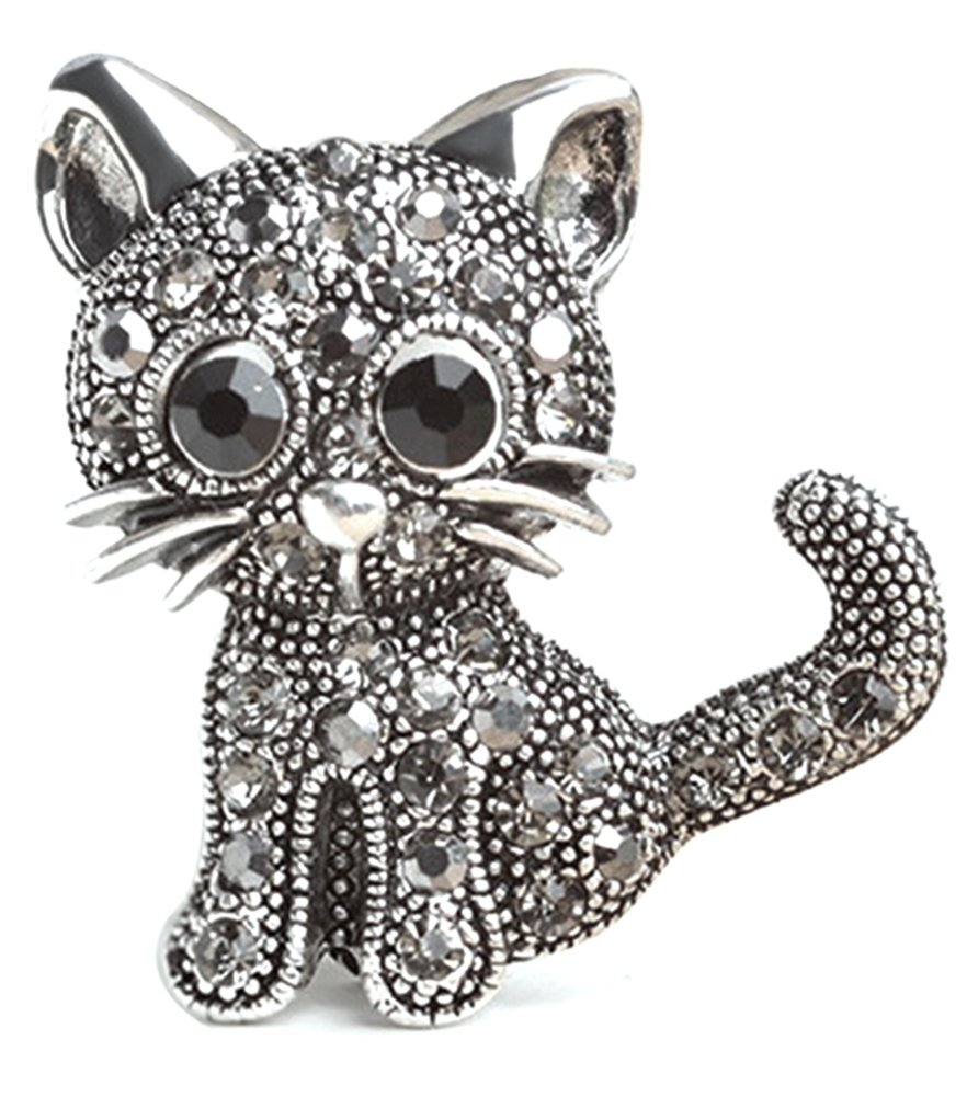 RoseSummer Jewelry Women's Crystal Cat Pin Brooch