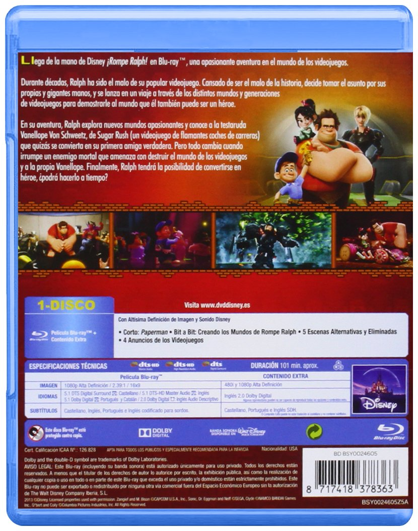 Amazon.com: ¡Rompe Ralph! (Blu-Ray) (Import Movie) (European Format - Zone B2) (2013) Rich Moore; Clark Spencer: Movies & TV