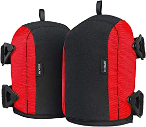 Professional Knee Pads for Work, Kneepads with Heavy Duty Foam Padding, No-Slip Leather & Strong Double Straps for Construction, Gardening, Flooring-Red