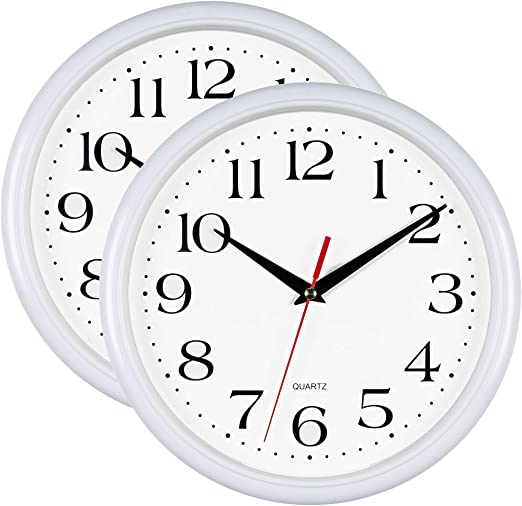 Amazon Com Bernhard Products White Wall Clocks 10 Inch Set Of 2 Silent Non Ticking Quality Quartz Battery Operated Round Easy To Read Home Office School Clock Home Kitchen