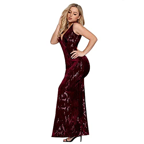 614c05f144 Ever Pretty Women's Elegant V Neck Sleeveless A Line Long Sequin Velvet  Sparkle Ball Gown Evening