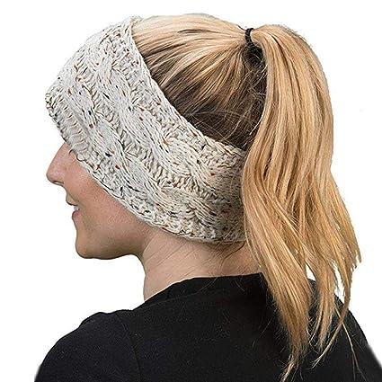 SUKEQ Women s Headband Fashion Bohemian Crochet Knit Hairband Ear Warmer  Autumn e9487c8740