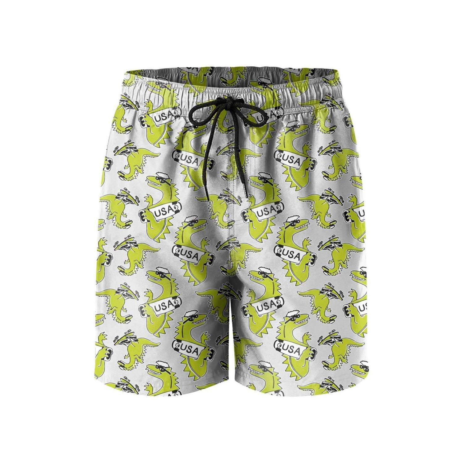 Classic Young Men Beach Shorts Dinosaur New York Van/ï/¼osaur USA White Quick Dry Volley Summer Short
