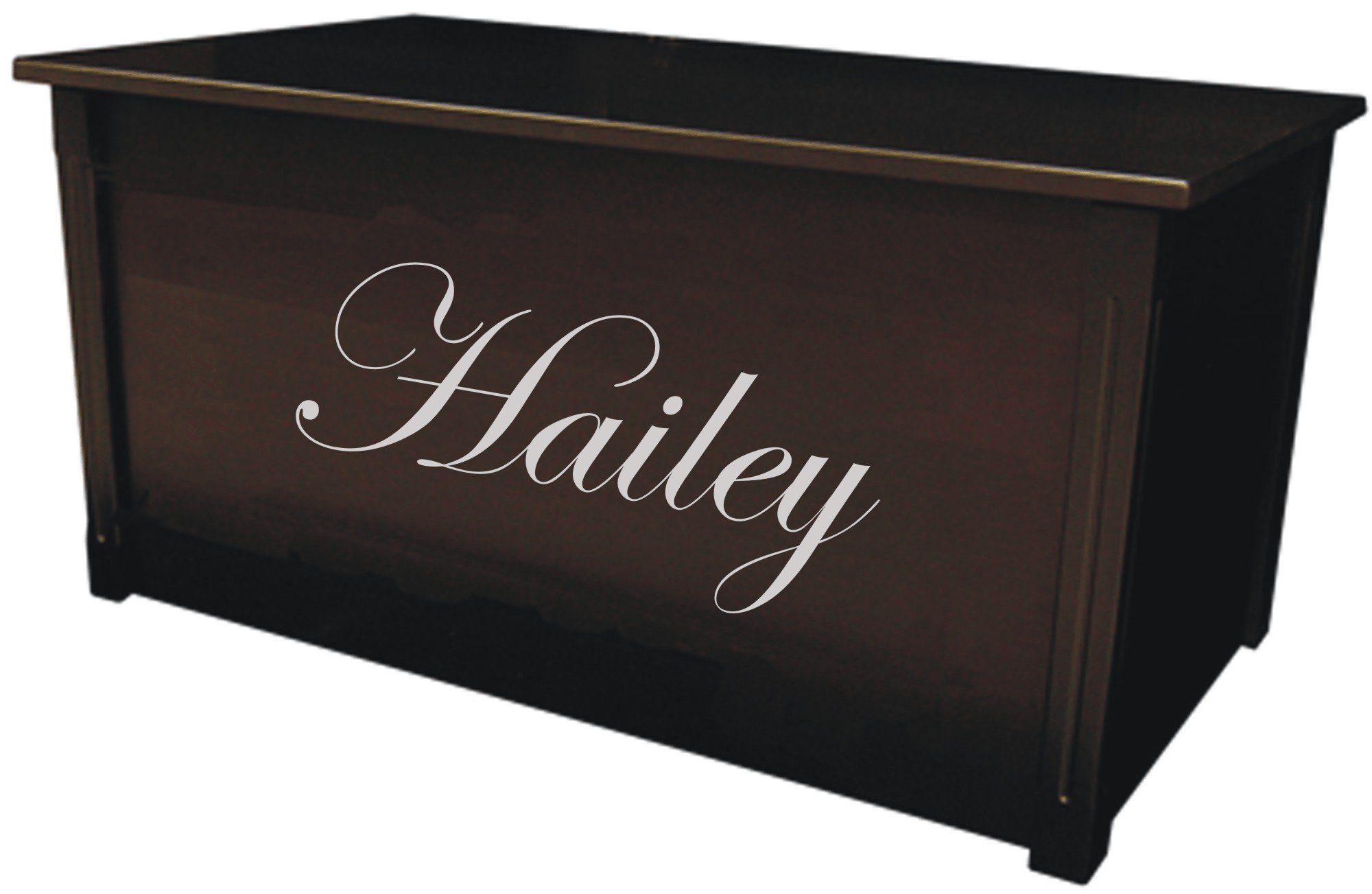 Wood Toy Box, Large Espresso Toy Chest, Personalized Edwardian Font, Custom Options (Standard Base - Silver Lettering)