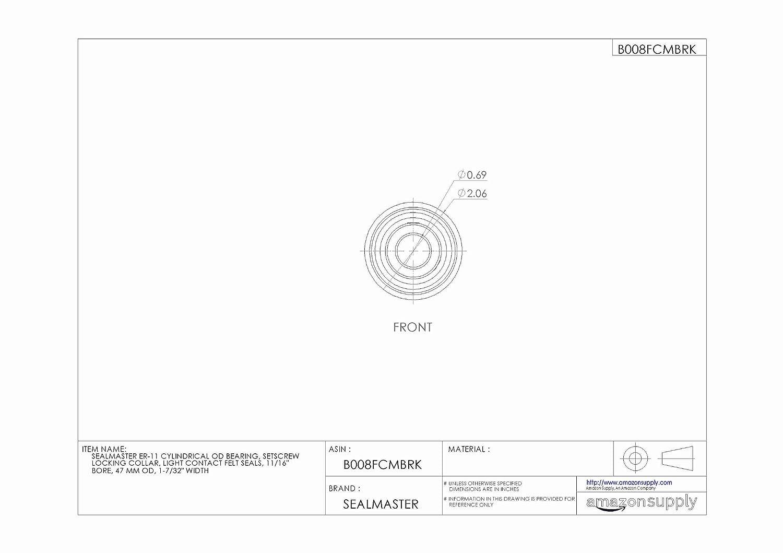 11//16 Bore Setscrew Locking Collar 47 mm OD Light Contact Felt Seals 1-7//32 Width Sealmaster ER-11 Cylindrical OD Bearing