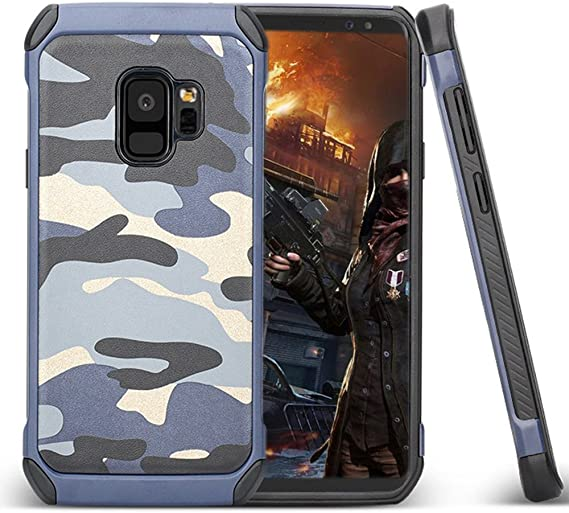 Para Funda Samsung Galaxy S9,Armadura Híbrido Resistente Robusta Estuche Rígida [Camuflaje diseño] [Doble Capa] [Protección Pesada] Chicos Antigolpes Carcasa cubierta protectora de Alto Impacto,Azul: Amazon.es: Electrónica